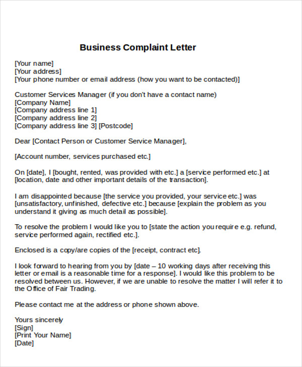 how to write a formal business complaint letter