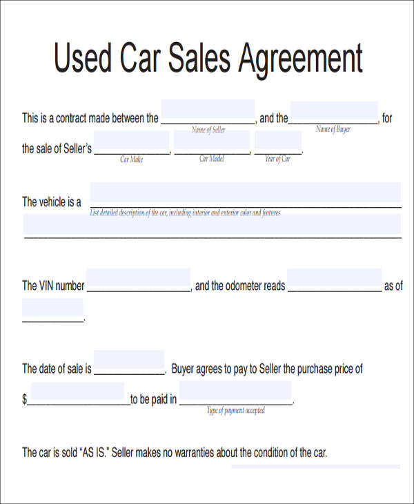 7 Vehicle Sales Agreement Samples Free Sample Example Format – Used Car Sales Contract Template