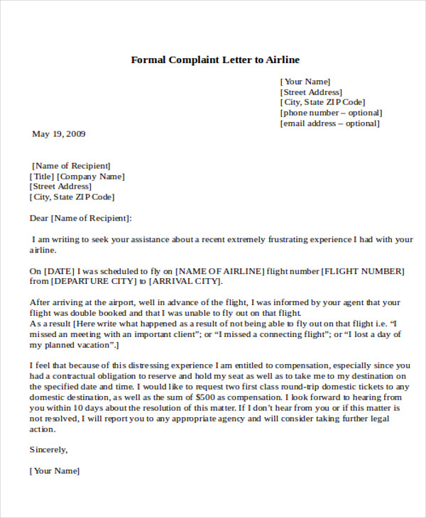 Sample Formal Complaint Letter - 7+ Examples In Word, Pdf