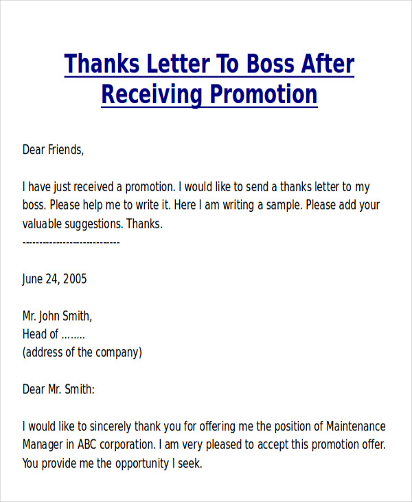 Thank You For Promotion  Thank You Letter To Boss