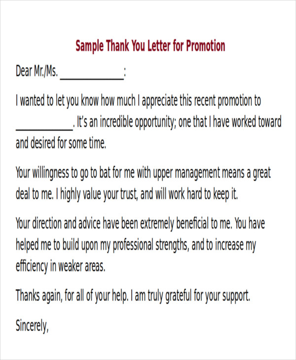 promotion thank you letter 6 sample thank you letter for promotion sample templates 24135