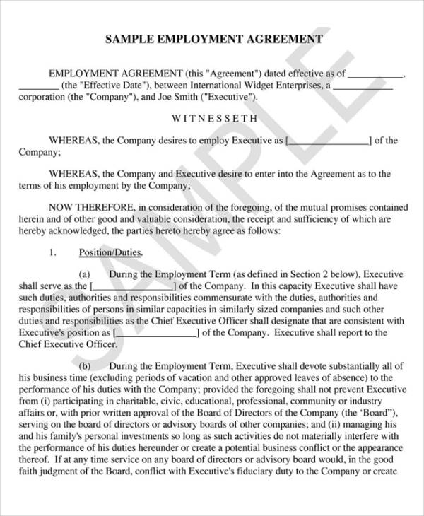 8 Employment Agreement Samples Free Sample Example Format – Executive Employment Agreement