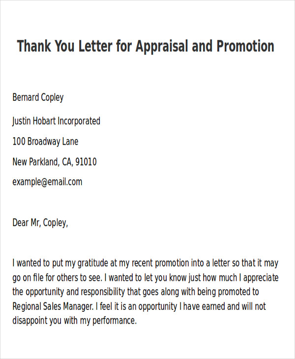 Sample ThankYou Letter For Promotion   Examples In Word Pdf