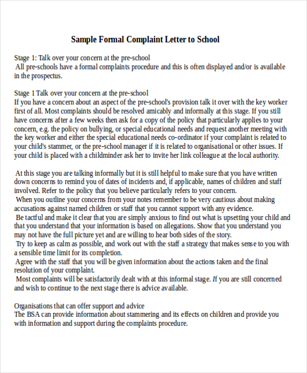 sample formal complaint letter to school