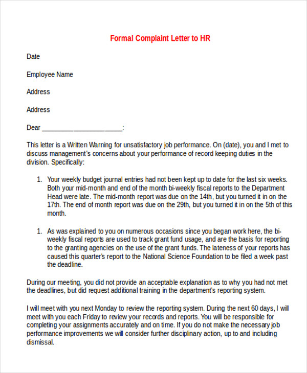 7 sample formal complaint letters sample templates for Formal letter of complaint to employer template