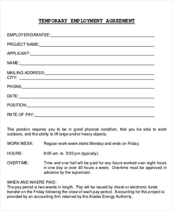 temporary employment agreement sample