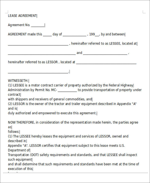 7+ Owner Operator Lease Agreement Sample - Free Sample, Example