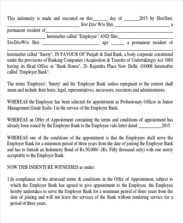 employment bond agreement pdf