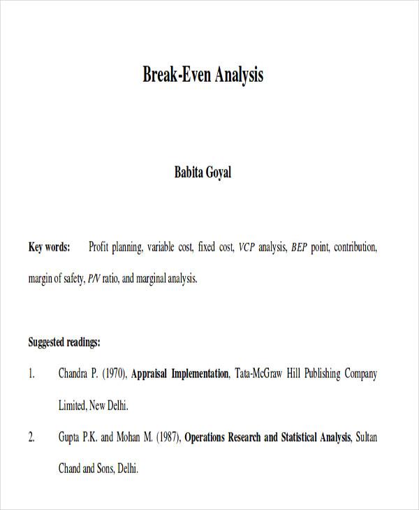 financial break even analysis