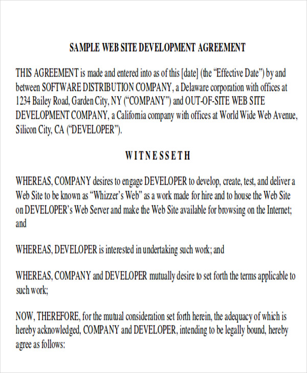 Development Agreement Contract Samples Sample Templates - Company contract sample