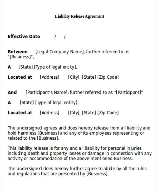 Delightful Sample General Release Of Liability Form