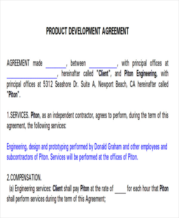 Development Agreement Contract Sample  Examples In Word Pdf
