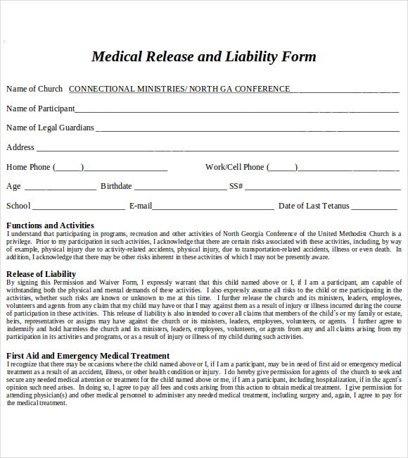 medical release and liability form pdf