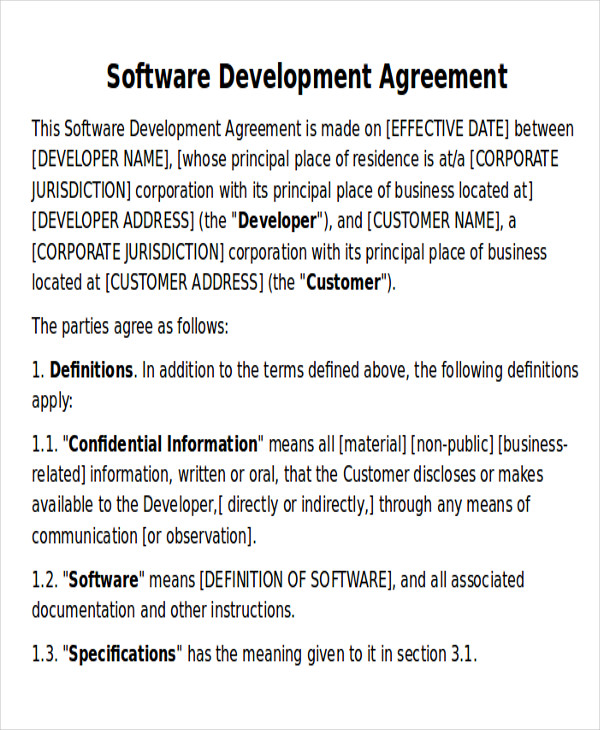 7+ Development Agreement Contract Sample - Examples In Word, Pdf