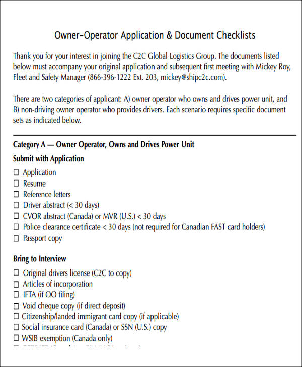 Owner Operator Lease Agreement Sample  Free Sample Example