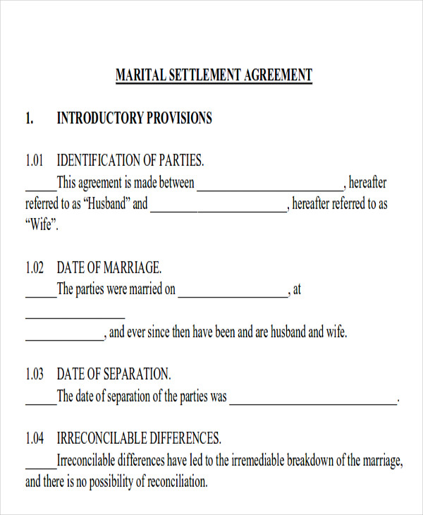 Sample Divorce Agreement  Free Sample Example Format Download