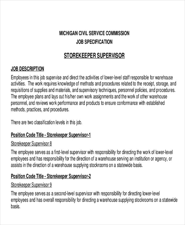 Stock Job Description Sample 11 Examples In Word Pdf