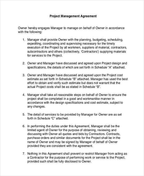 project contract management agreement