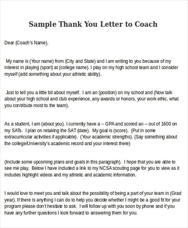Thank You Letter To Coach | 6 Sample Thank You Letters To Coach Sample Templates