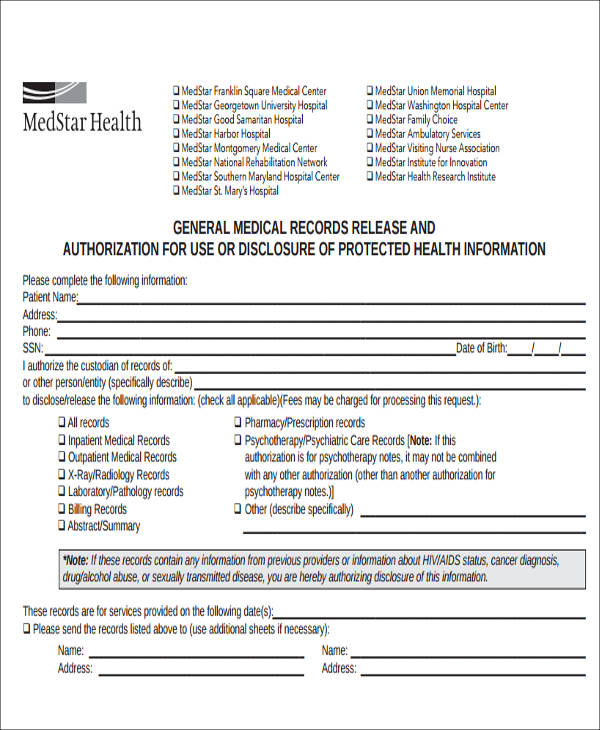 Generic Release Of Medical Information Form