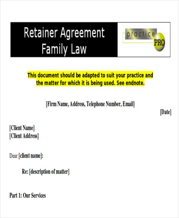 divorce retainer agreement