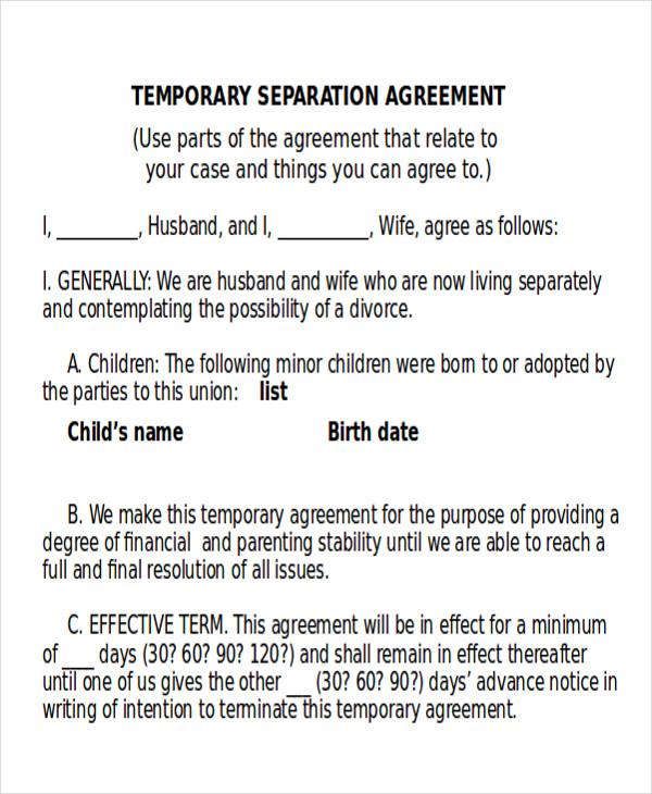 10 Sample Divorce Agreements Sample Templates