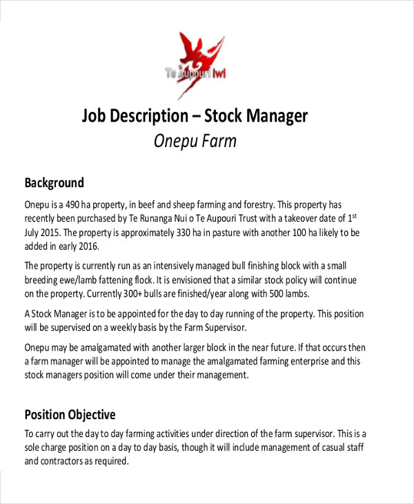 Stock Job Description Sample   Examples In Word Pdf