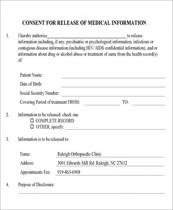 Authorization For Release Of Information. Release Of Medical Information  Form ...