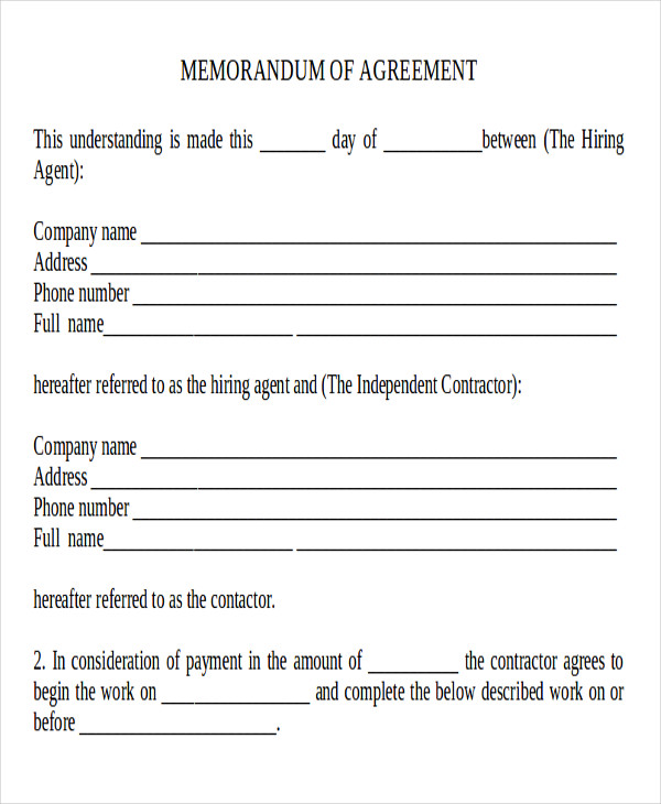 blank memorandum of agreement sample