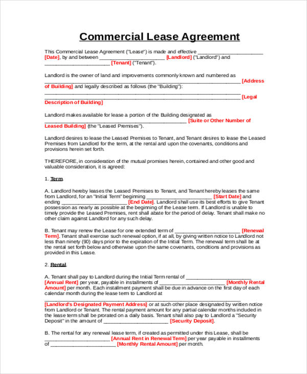 9 Business Lease Agreement Samples Sample Templates