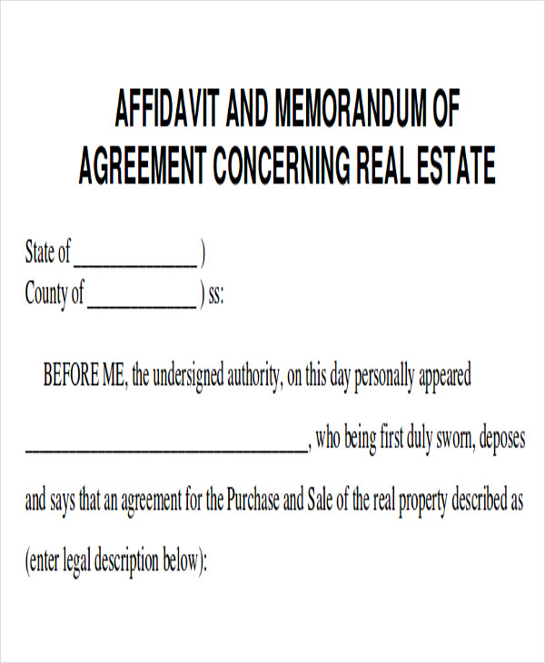 real estate memorandum of agreement