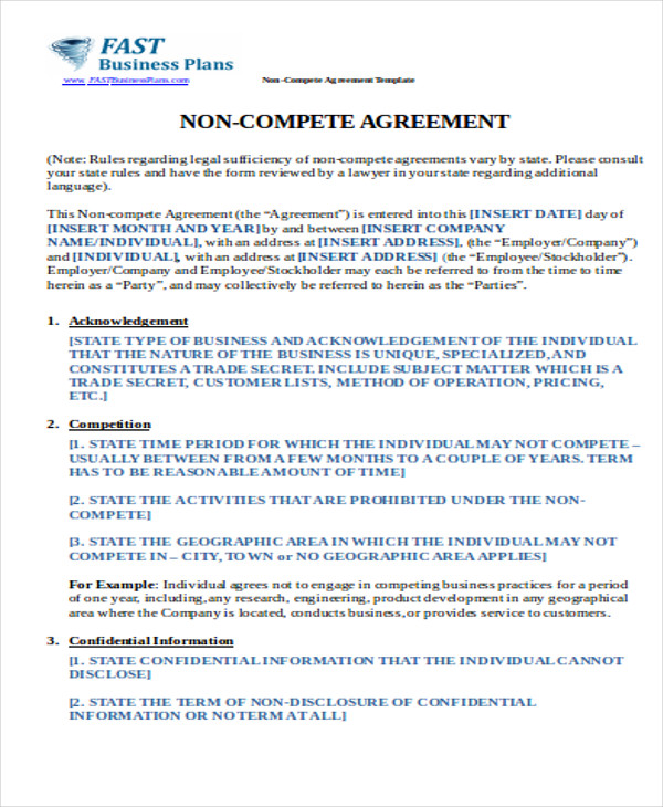 sample business non compete agreement