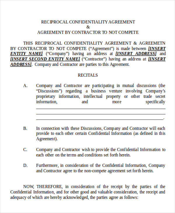 Sample NonCompete Agreement  Free Sample Example Format