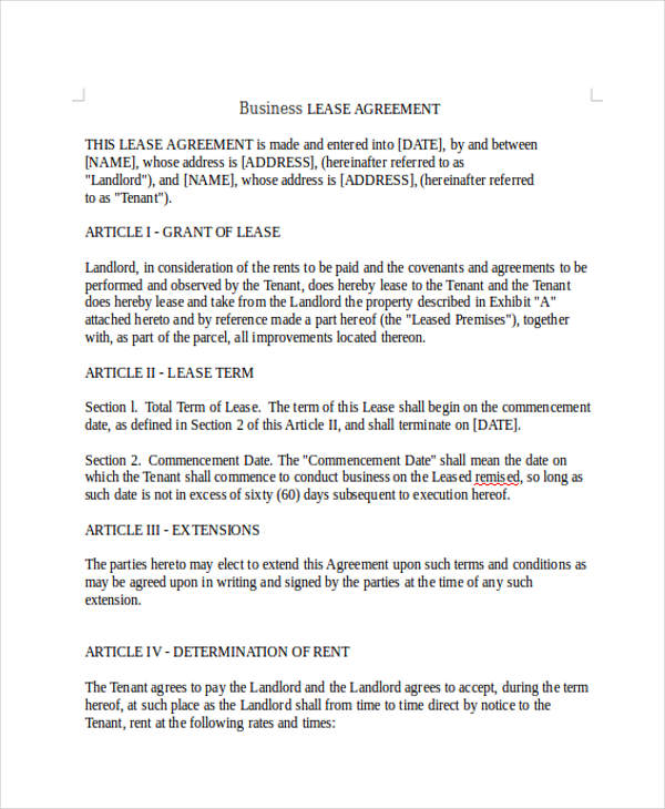 9 Business Lease Agreement Sample Free Sample Example Format – Business Lease Agreement Sample