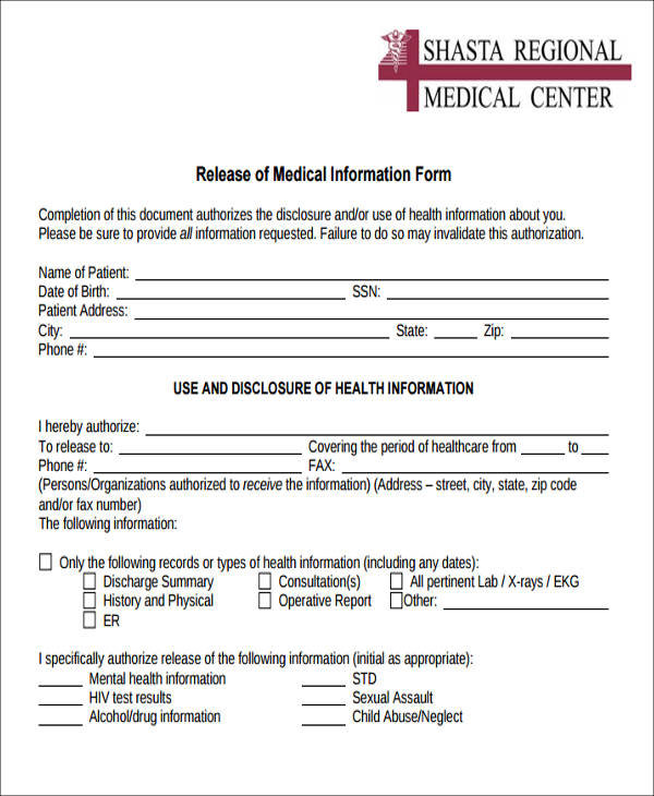 Release Of Medical Information Form Sample - 9+ Examples in Word, PDF
