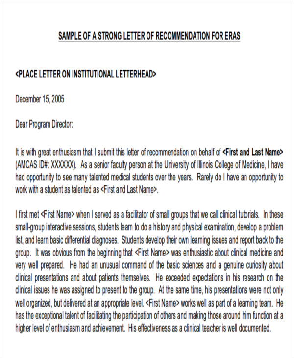 example of physician letter of recommendation