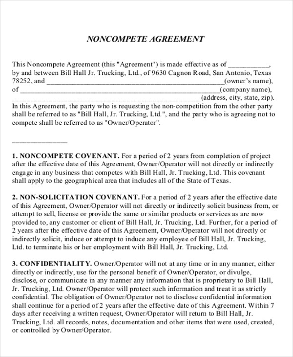 non compete sales agreement format