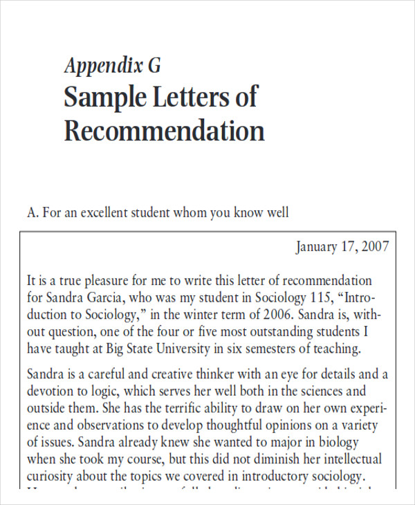 letters of recommendation format samples