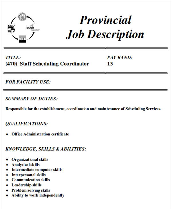 scheduling coordinator job description sample