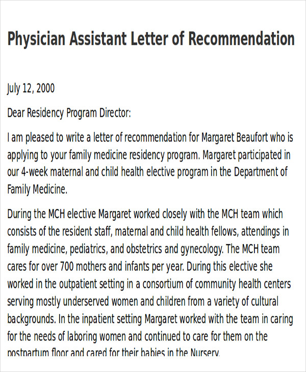 physician assistant letter of recommendation
