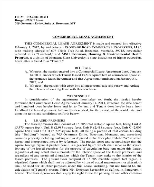 Business Lease Agreement Sample  Free Sample Example Format