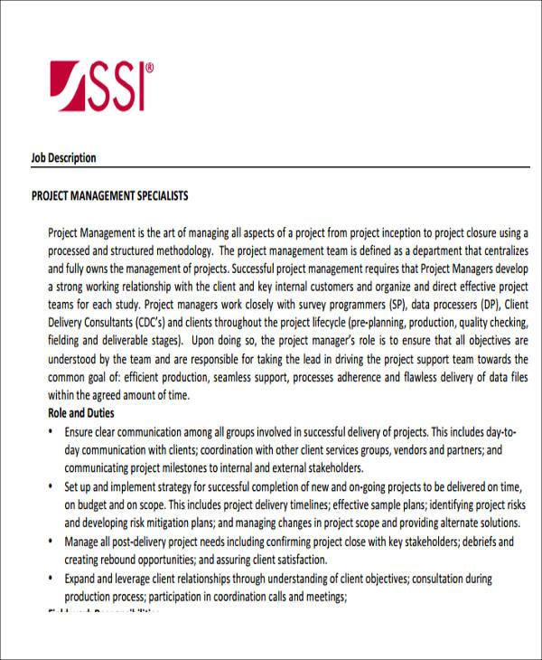 sample project management job description
