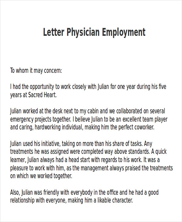 sample letter of recommendation for physician employment