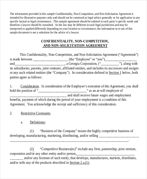 Sample NonCompete Agreement  Free Sample Example Format Download