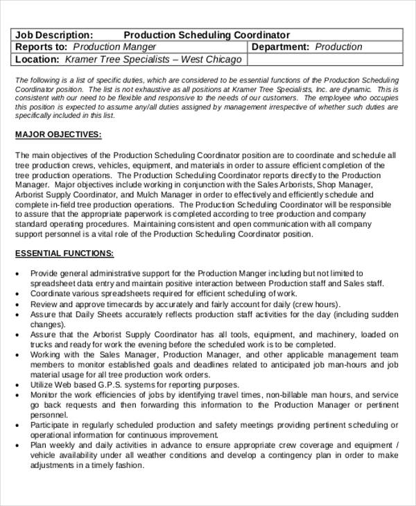 Scheduling Coordinator Job Description Sample   Examples In Word Pdf