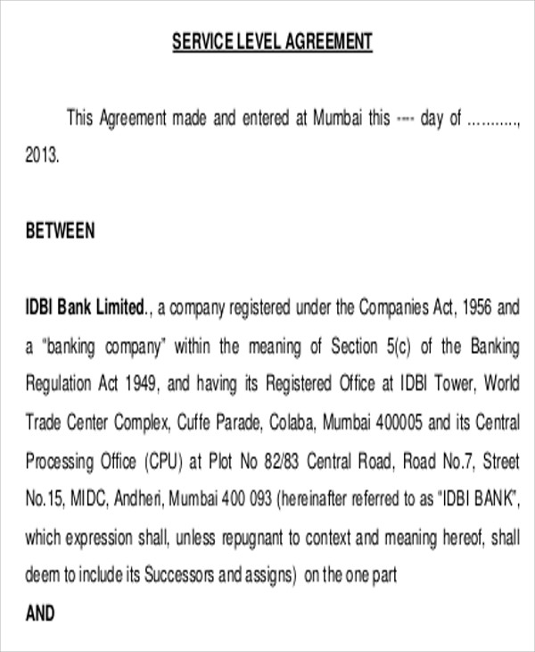 contract service level agreement
