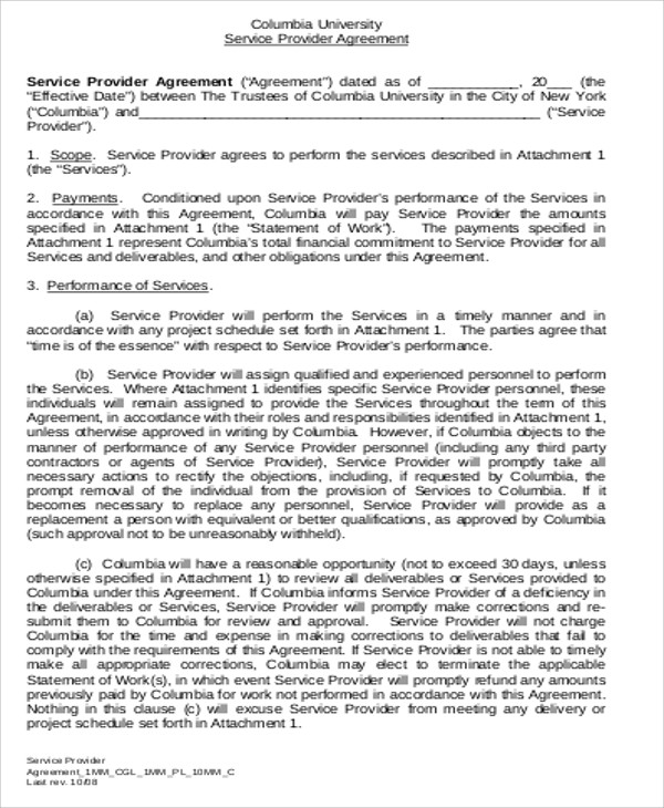 9 Sample Contract Service Agreements Sample Templates