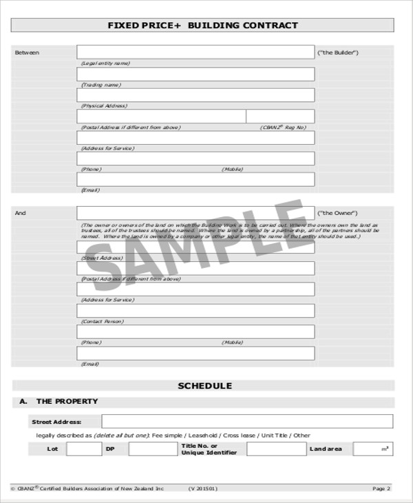 Simple Contract Agreements Sample Templates - Building contractor agreement template