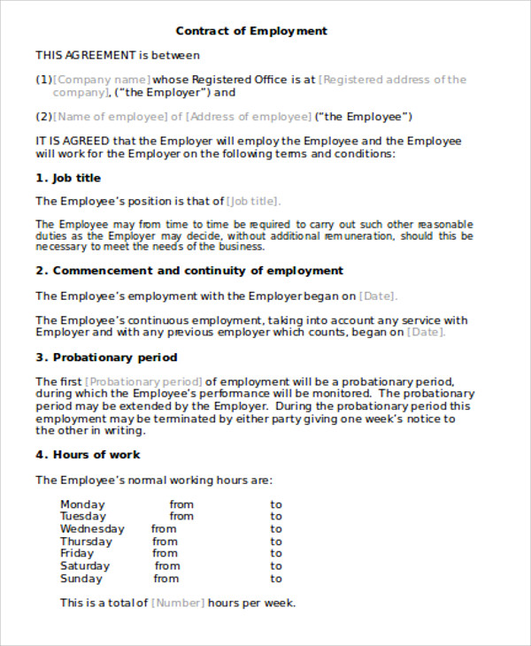 9 simple contract agreements sample templates for Basic contract of employment template