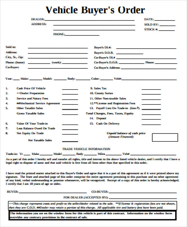 vehicle purchase order template 10  Sample Vehicle Order Forms | Sample Templates